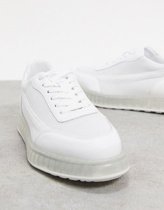 Joshua Sanders low top trainer with transparent sole in white