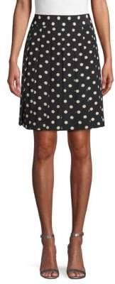 Marc Jacobs Polka Dot Pleated Silk Skirt