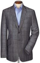 Slim Fit Navy Checkered Luxury Wool Linen Wool Jacket Size 40 By Charles Tyrwhitt