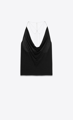 Saint Laurent Tops And Blouses Draped Tank Top In Jersey With Chains Black 12