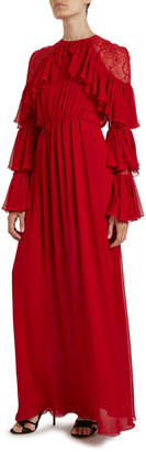 Giambattista Valli Silk Tiered-Sleeve Lace Shoulder Gown