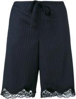 Alexander Wang lace trim pinstriped shorts - women - Virgin Wool - S