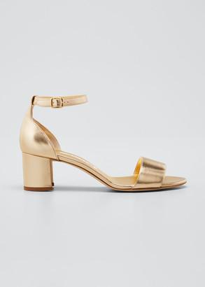 Manolo Blahnik 50mm Metallic Ankle-Strap Sandals