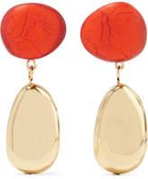 Dinosaur Designs Gold-tone Resin Earrings - Orange
