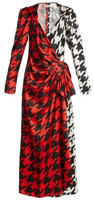 ATTICO Pat Hound's-tooth Checked Satin Wrap Dress - Black Red Print