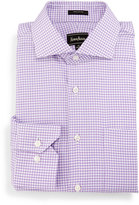 Neiman Marcus Classic-Fit Pinwheel-Check Dress Shirt, Purple