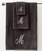 "Avanti Bath Towels, Monogram Initial Script Granite and Silver 11"" x 18"" Fingertip Bedding"
