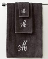 """Avanti Bath Towels, Monogram Initial Script Granite and Silver 16"""" x 30 """" Hand Towel"""
