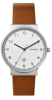 Skagen Ancher Titanium Leather-Strap Watch