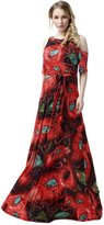 Yacun Women's Sexy Floral Print Bohenmian Maxi Beach Summer Dress
