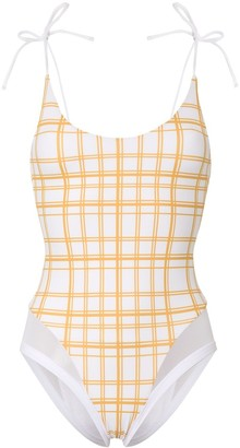 Ambra Maddalena Blake check print swimsuit