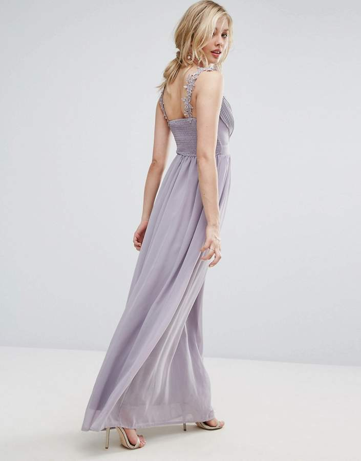 Club L Bridesmaid Pleated Maxi Dress With Crochet Lace Straps