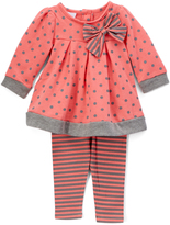 Coral & Gray-Trim Top & Leggings - Infant & Girls