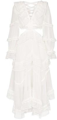 Zimmermann Asymmetric Lace Midi Dress