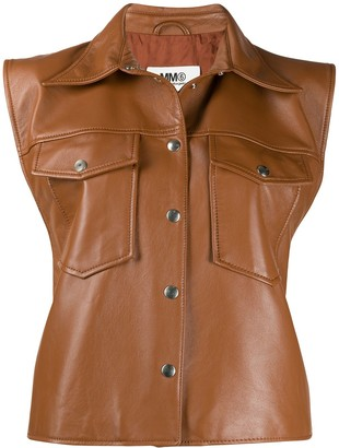 MM6 MAISON MARGIELA Sleeveless Leather Jacket