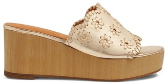 Jack Rogers Rory Whipstitch Metallic Leather Platform Wedge Mules