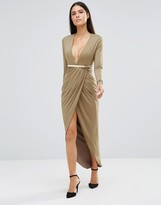Rare Long Sleeve Slinky Plunge Midi Dress