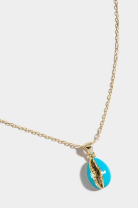 francesca's Faith Enameled Puka Shell Pendant Necklace - Blue