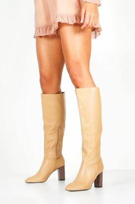 boohoo Block Heel Knee Boots