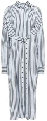 Tibi Tie-front Striped Jacquard Midi Shirt Dress