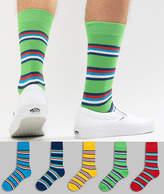 Asos DESIGN Socks With Retro Stripes Design 5 Pack