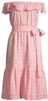 MICHAEL Michael Kors On/Off-Shoulder Glam Plaid Dress