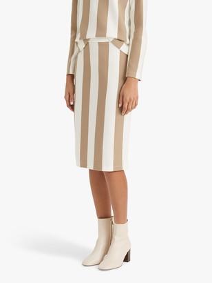 Club Monaco Striped Pencil Skirt, Khaki/Multi