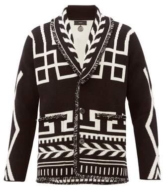 Alanui Geometric Jacquard Cashmere Cardigan - Mens - Black Multi