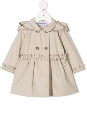 Tartine et Chocolat Ruffle Detail Hooded Trench Coat