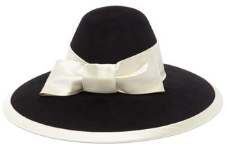 Gucci Aurora Satin Bow-trimmed Felt Hat - Black White
