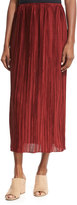 The Row Juri Pleated Silk Midi Skirt, Dark Red