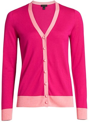 Saks Fifth Avenue COLLECTION Silk & Cashmere Bi-Color Cardigan