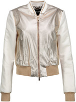 Just Cavalli Metallic faux textured-leather and satin bomber jacket