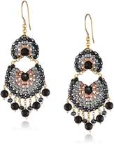Miguel Ases Onyx and Rose Gold Fan Multi-Drop Earrings