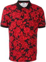 MSGM rose print polo shirt