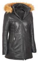 Black Rivet Womens Long Leather Puffy W/ Faux-Fur Trim Hood