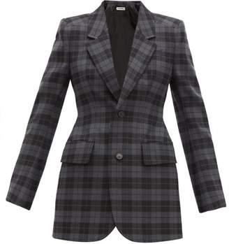 Balenciaga Hourglass Checked Twill Blazer - Womens - Grey Multi