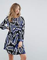 Traffic People Feather Print Shift Dress