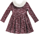 Sweet Heart Rose Burgundy Marl Faux Fur-Trim Dress - Infant
