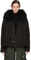 Mr and Mrs Italy Black Shearling Collar Mini Parka