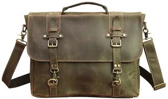 Touri Vintage Look Genuine Leather Messenger In Worn Brown