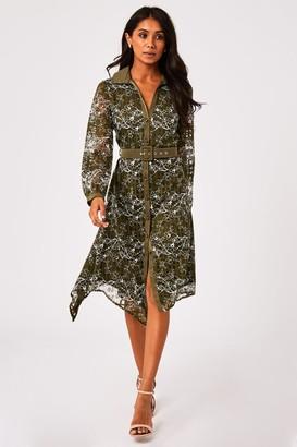 Paper Dolls Arzana Khaki Lace Check Belted Midi Shirt Dress