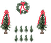 Asstd National Brand Pre-Lit B/O Traditional Pine Artificial Outdoor Christmas Entrance Set with Clear Lights