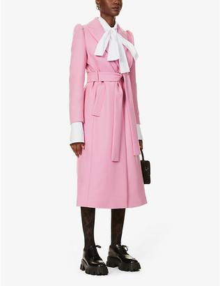 RED Valentino Padded-shoulder wool-blend coat