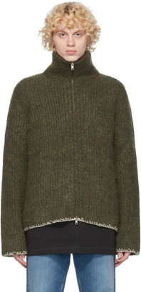 Maison Margiela Green Wool 5 Gauge Zip-Up Sweater