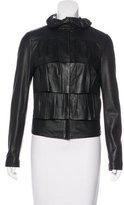 Diane von Furstenberg Leather Ruffle Jacket
