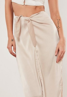 Missguided Champagne Tie Front Midi Skirt