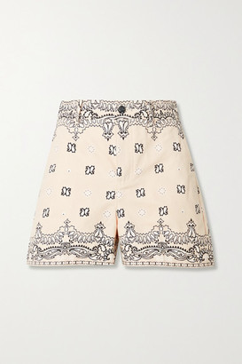 Tory Burch Paisley-print Cotton-canvas Shorts - Ecru