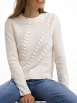 White + Warren Cashmere Directional Cable Crewneck
