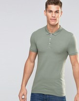 Asos Extreme Muscle Jersey Polo In Green